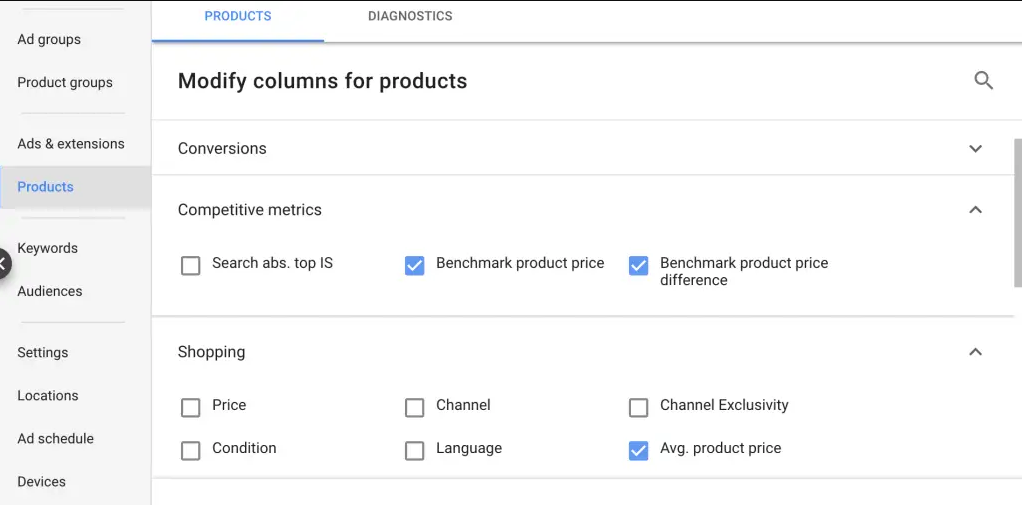 price benchmarking google shopping ads