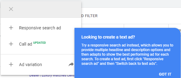 responsive search ads rsa default ad type